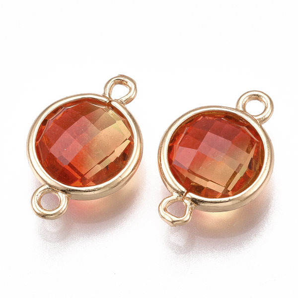 Round Faceted Connector Golden Red 17.5x11.5mm