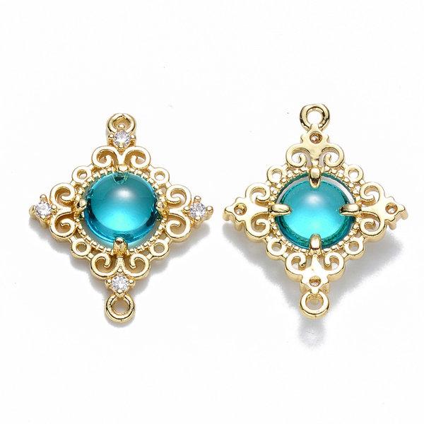 Luxe Deco Ruit Crystal Glass Tussenzetsel Nikkelvrij Goud Turquoise 23.5x19mm