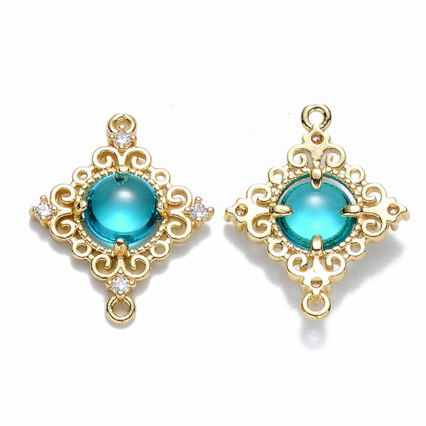 Luxury Rhombus Crystal Glass Connector Nickel Free Golden Turquoise 23.5x19mm