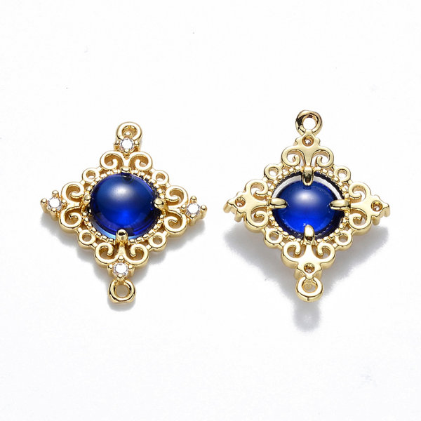 Luxury Rhombus Crystal Glass Connector Nickel Free Golden Blue 23.5x19mm