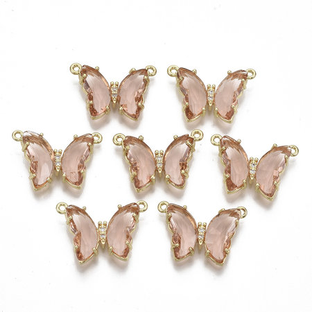 Luxury Butterfly Crystal Glass Connector Nickel Free Golden Salmon 16x24mm