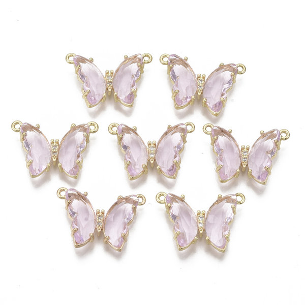 Luxury Butterfly Crystal Glass Connector Nickel Free Golden Pink 16x24mm