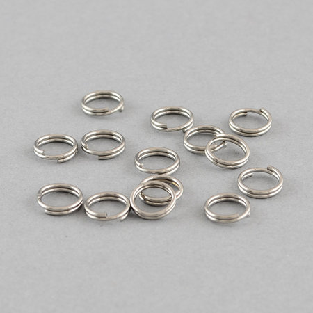 20 pieces Stainless Steel Double Loop Ring Silver 6mm