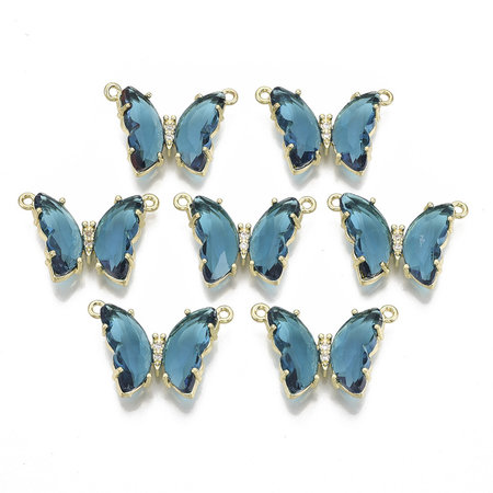 Luxury Butterfly Crystal Glass Connector Nickel Free Golden Blue 16x24mm
