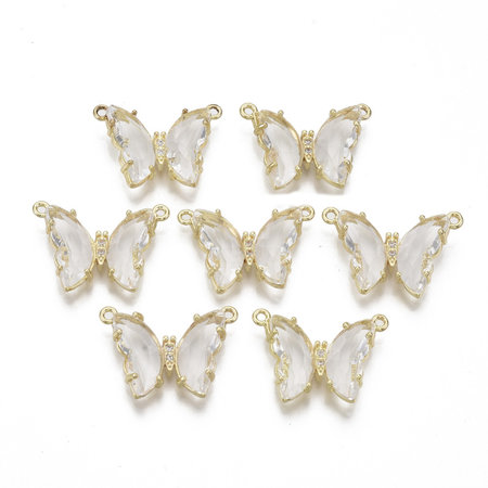 Luxury Butterfly Crystal Glass Connector Nickel Free Golden White 16x24mm
