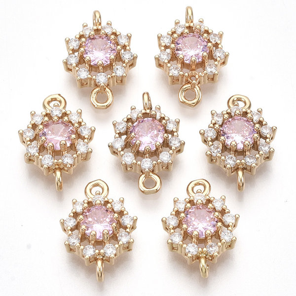 Luxe Crystal Glass Strass Tussenzetsel Goud Roze 16x11mm