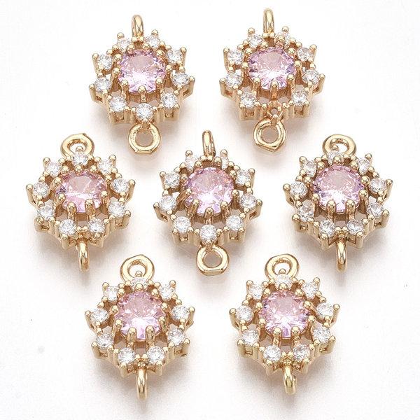 Luxury Crystal Glass Rhinestone Connector Golden Pink 16x11mm