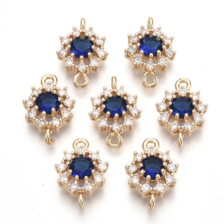 Luxe Crystal Glass Strass Tussenzetsel Goud Kobalt Blauw 16x11mm