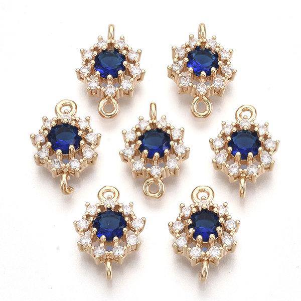 Luxury Crystal Glass Rhinestone Connector  Golden Cobalt Blue 16x11mm