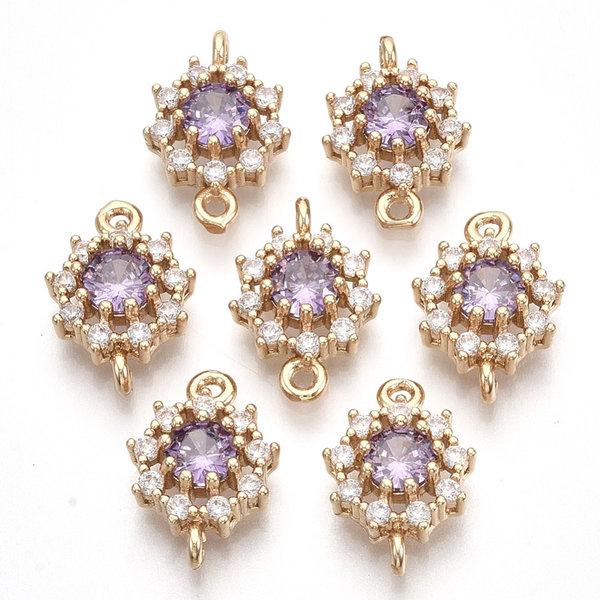 Luxury Crystal Glass Rhinestone Connector  Golden Lilac 16x11mm
