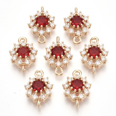 Luxury Crystal Glass Rhinestone Connector  Golden Red 16x11mm