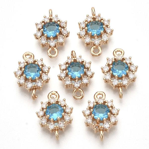 Luxury Crystal Glass Rhinestone Connector  Golden Aqua Blue 16x11mm