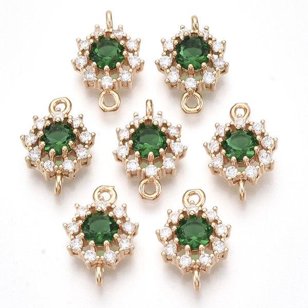 Luxury Crystal Glass Rhinestone Connector Golden Green 16x11mm