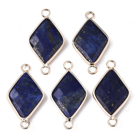 Natural Lapis Lazuli Link Rhombus Gold Plated 30x15mm