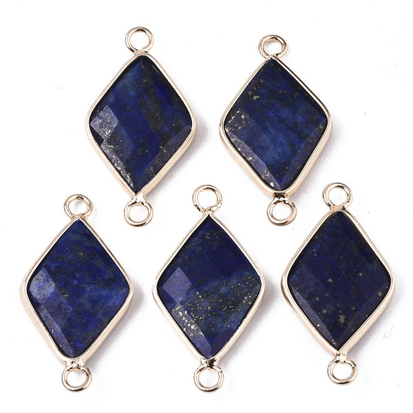 Natural Lapis Lazuli  Faceted Link Rhombus Gold Plated 30x15mm