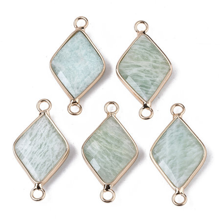 Natural Amazonite Link Rhombus Gold Plated 30x15mm