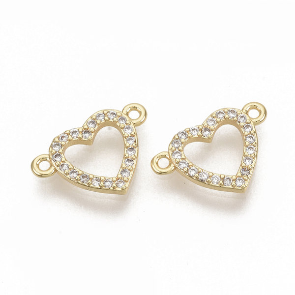 Heart with Rhinestones Link Nickel Free Gold Plated 9.5x13.5mm