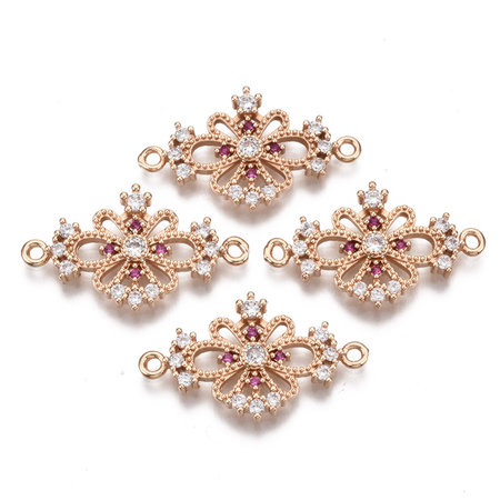 Luxury Charm with Zirconia 26x15mm Flower Pink White