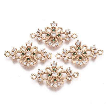Luxury Charm with Zirconia 26x15mm Flower Green White