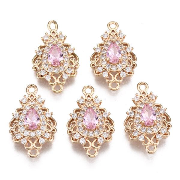 Luxury Charm with Zirconia 20x12mm Drop Pink White