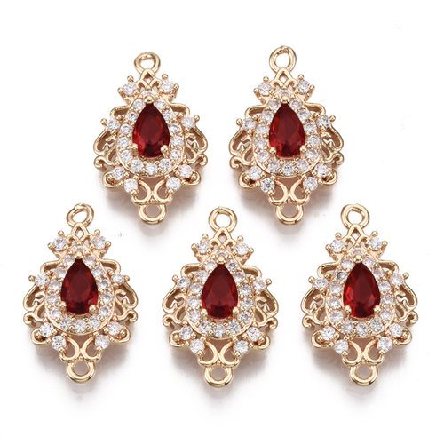 Luxury Charm with Zirconia 20x12mm Drop Red White