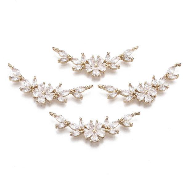 Luxury Charm with Zirconia 13x37mm Flower White