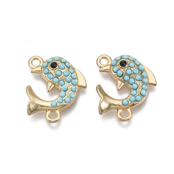 Dolphin Link Gold Turquoise 16x20mm