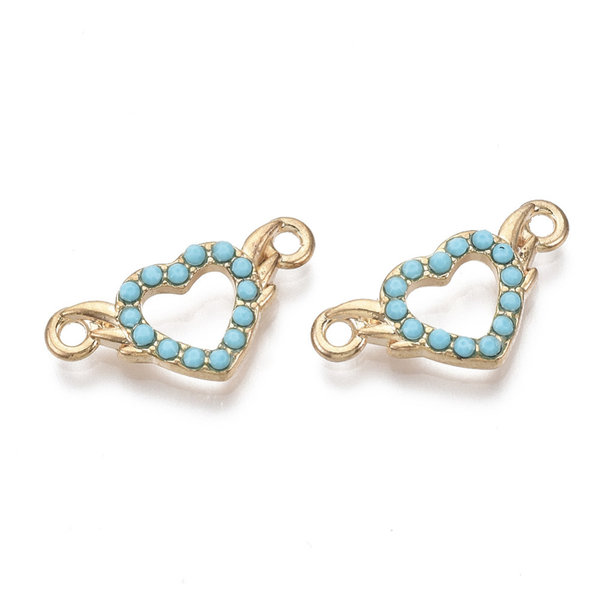 Heart Link Gold Turquoise 10x20.5mm