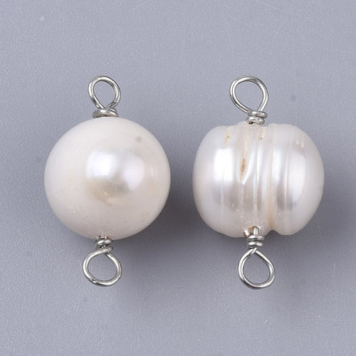 Natural Sweet Water Pearl Link 18x10mm White Silver