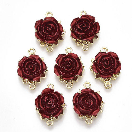Rose Connector Golden Red 22.5x16mm
