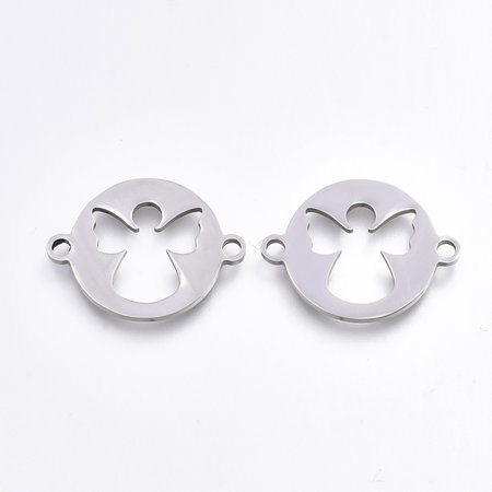 Stainless Steel Angel Connector Silver 15.5x20mm