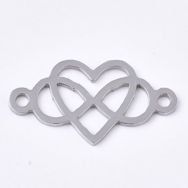 Stainless Steel Heart Infinity Connector Silver 13x24mm