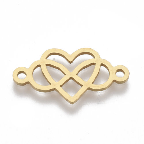 Stainless Steel Tussenzetsel Infinity Hart Goud 13x24mm