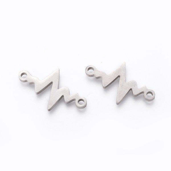 Stainless Steel Cardiogram Hartslag Tussenzetsel Zilver 13x21mm