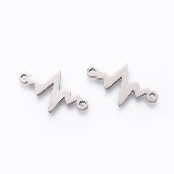 Stainless Steel Cardiogram Heart Beat Connector Silver 13x21mm