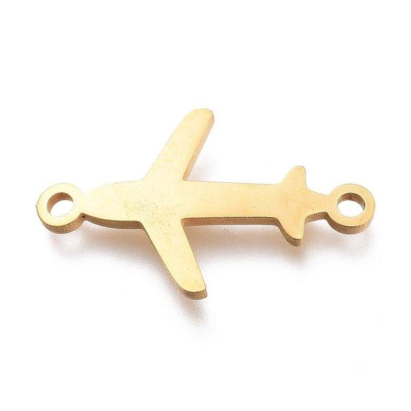 Stainless Steel Tussenzetsel Vliegtuig Goud 12x20mm