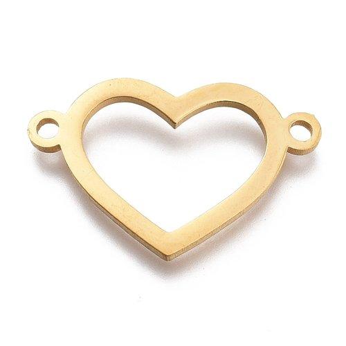 Stainless Steel Heart Connector Golden 13x20mm