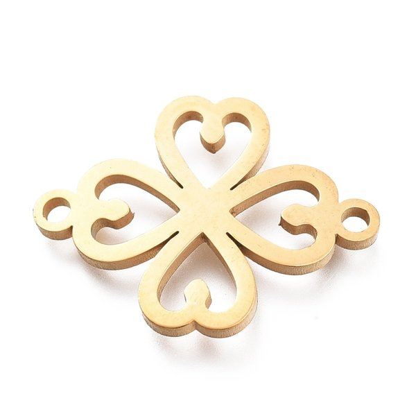 Stainless Steel Clover Connector Golden 15x20.5mm