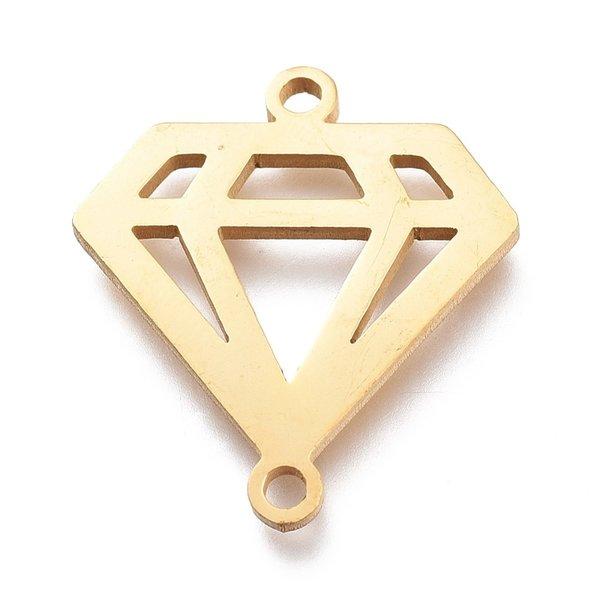 Stainless Steel Diamond Connector Golden 18x20mm