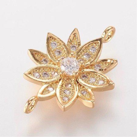 Luxury Link with Zirconia 20.5x14mm Flower Golden