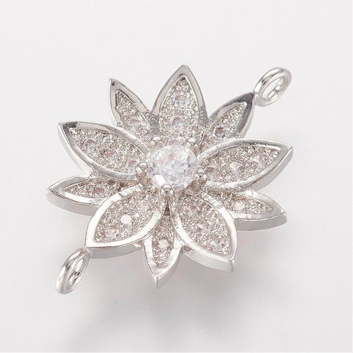 Luxury Link with Zirconia 20.5x14mm Flower Silver