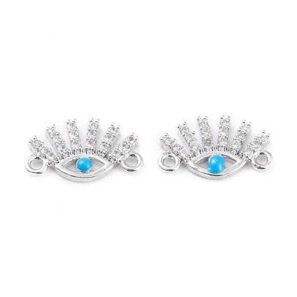 Luxury Link with Zirconia 8.3x14.5mm Evil Eye  Silver