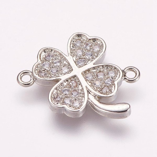 Luxury Link with Zirconia 14.5x16.5mm Clover Silver