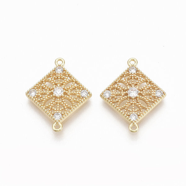 Rhombus with Zirconia Link Nickel Free Gold Plated 19.5x15.5mm