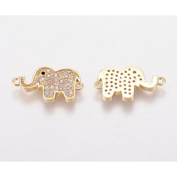 Elephant with Zirconia Link Nickel Free Golden 11x19.5mm