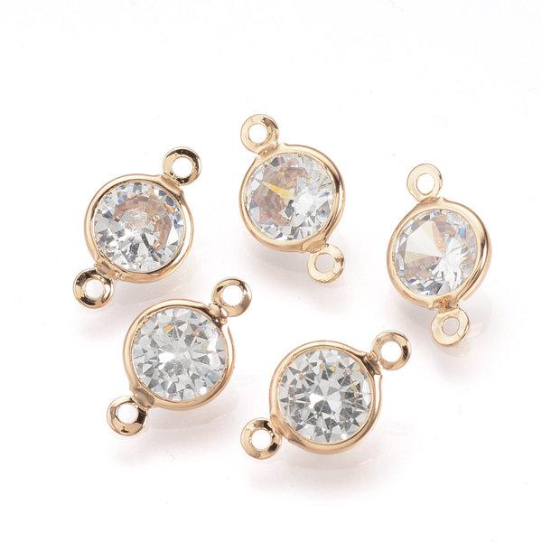 Luxury Round Link with Zirconia 15x9mm Golden