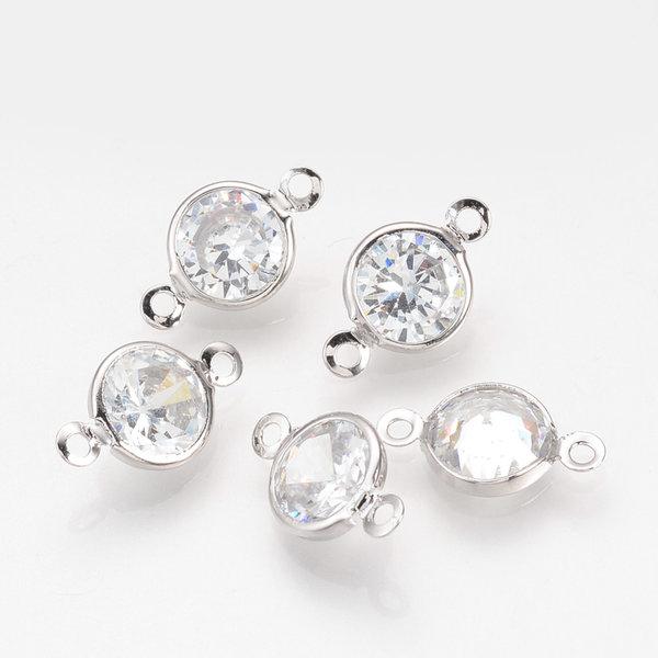Luxury Round Link with Zirconia 15x9mm Silver