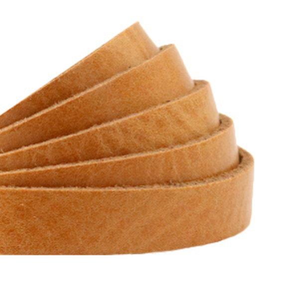 60cm Flat Leather Designer Quality 10mm Light Brown