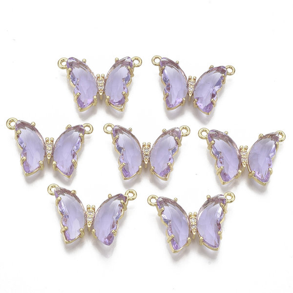 Luxury Butterfly Crystal Glass Connector Nickel Free Golden Purple 16x24mm