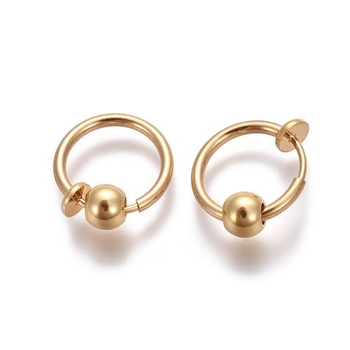 Earring Clip with Bead Electroplate Brass 12.6x0.8~1.6mm Golden